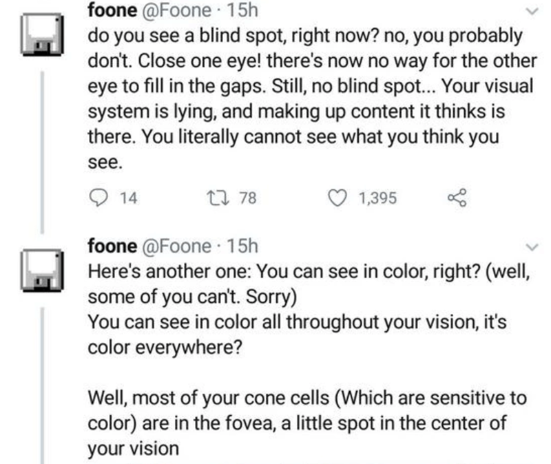 Text - foone @Foone 15h do you see a blind spot, right now? no, you probably don't. Close one eye! there's now no way for the other eye to fill in the gaps. Still, no blind spot... Your visual system is lying, and making up content it thinks is there. You literally cannot see what you think you see. 27 78 1,395 14 foone @Foone · 15h Here's another one: You can see in color, right? (well, some of you can't. Sorry) You can see in color all throughout your vision, it's color everywhere? Well, most