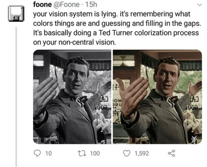 Text - foone @Foone 15h your vision system is lying. it's remembering what colors things are and guessing and filling in the gaps. It's basically doing a Ted Turner colorization process on your non-central vision. low 1000 000 OT 10 17 100 1,592
