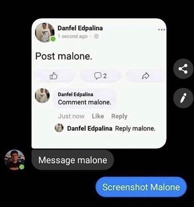 Text - Danfel Edpalina 1 second ago O Post malone. 02 Danfel Edpalina Comment malone. Just now Like Reply Danfel Edpalina Reply malone. Message malone Screenshot Malone