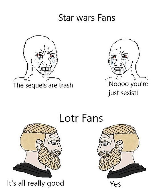 Face - Star wars Fans The sequels are trash Noo00 you're just sexist! Lotr Fans It's all really good Yes