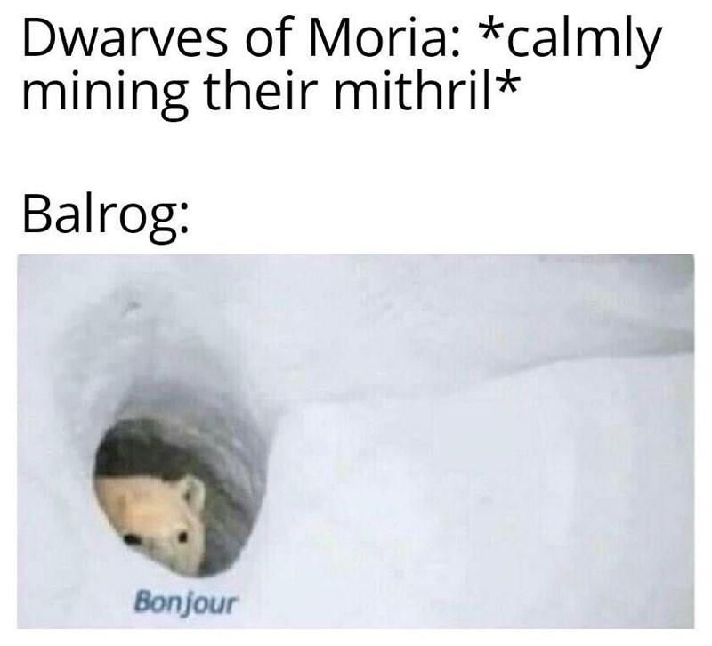 Text - Dwarves of Moria: *calmly mining their mithril* Balrog: Bonjour