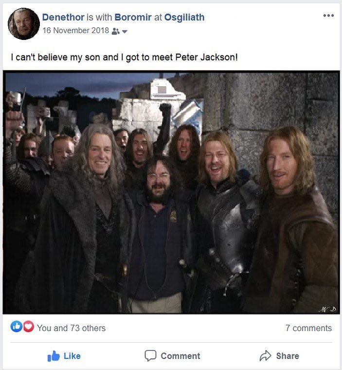 People - Denethor is with Boromir at Osgiliath ... 16 November 2018 I can't believe my son and I got to meet Peter Jackson! You and 73 others 7 comments Like Comment A Share