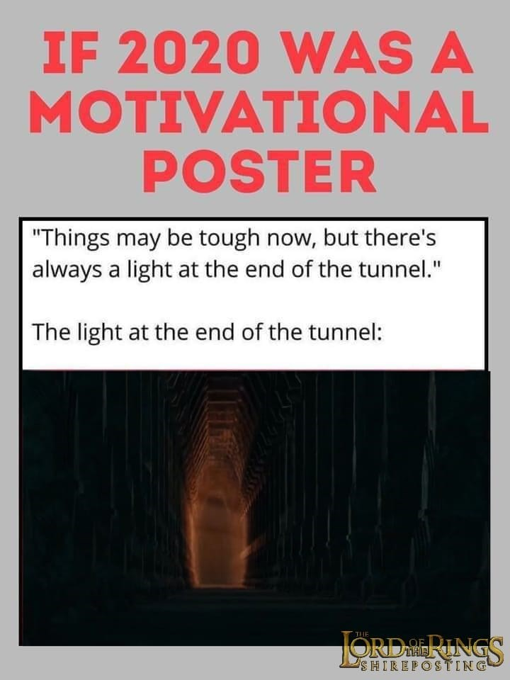 """Text - IF 2020 WAS A MOTIVATIONAL POSTER """"Things may be tough now, but there's always a light at the end of the tunnel."""" The light at the end of the tunnel: JORDERINGS THE SHIREPOSTING"""