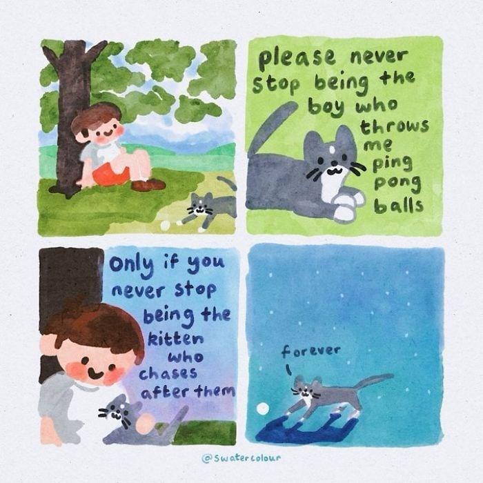 Cartoon - please never stop being the boy who throws me ping pong balls Only if you never stop being the kitten who chases after them forever © Swater colour