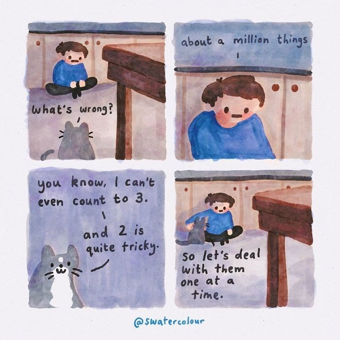 Text - about a million things what's wrong? you know, I can't even Count to 3. and 2 is quite tricky. So let's deal with them one at a time. @ swatercolour