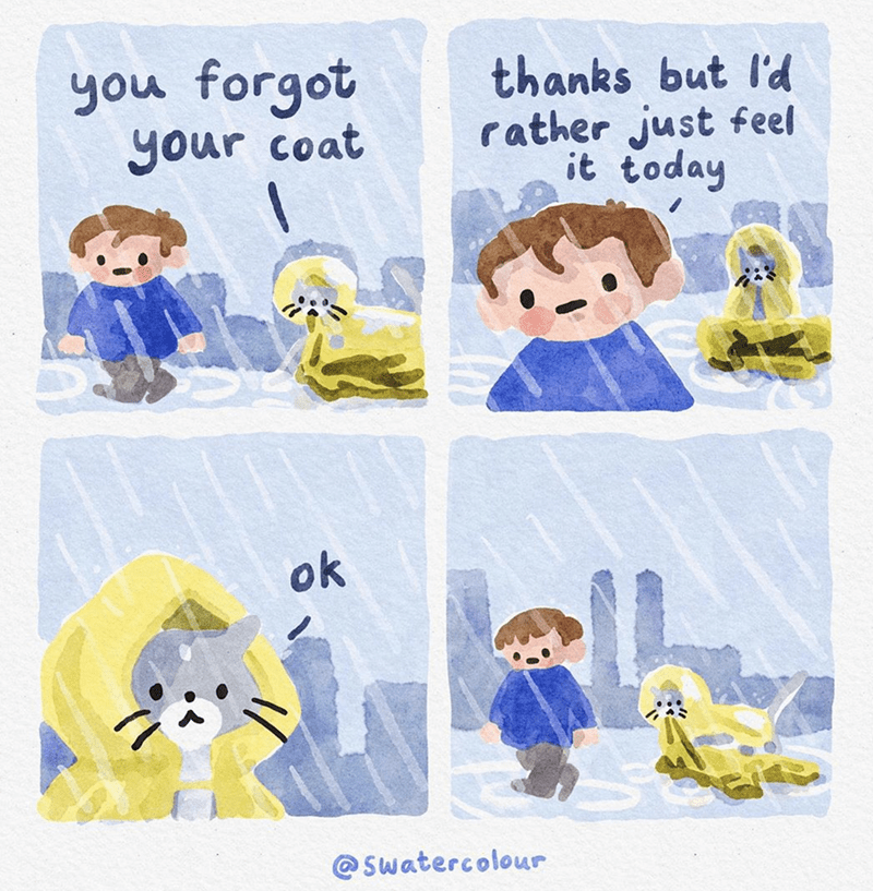 Illustration - you forgot your coat thanks but l'd rather just feel it today ok @ Swatercolour