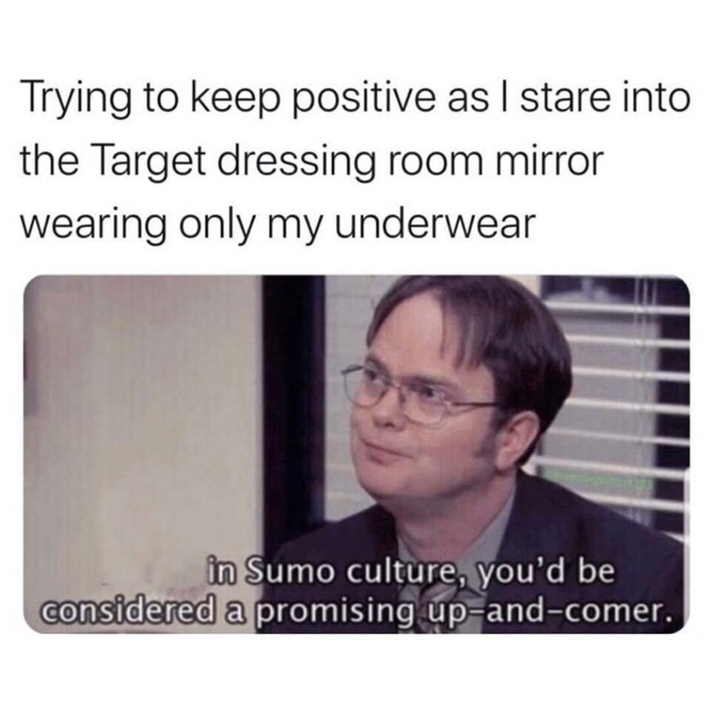 Text - Trying to keep positive as I stare into the Target dressing room mirror wearing only my underwear in Sumo culture, you'd be considered a promising up-and-comer.