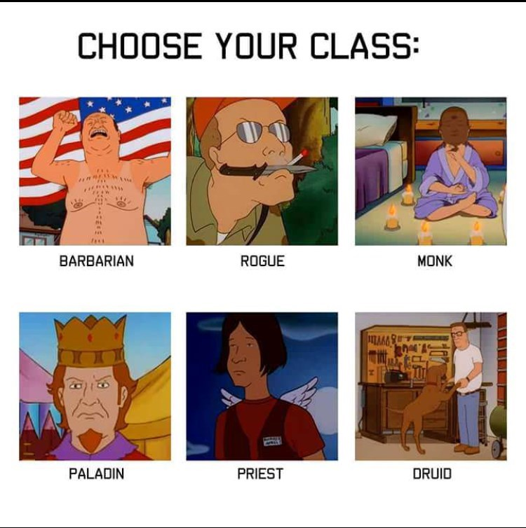 Cartoon - CHOOSE YOUR CLASS: BARBARIAN ROGUE MONK PALADIN PRIEST DRUID