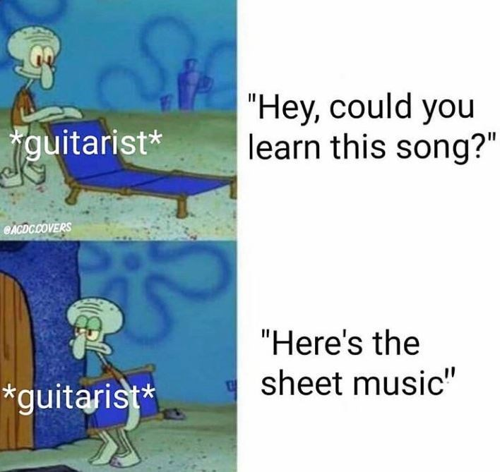 """Cartoon - """"Hey, could you learn this song?"""" guitarist* CACDC.COVERS """"Here's the sheet music"""" *guitarist"""