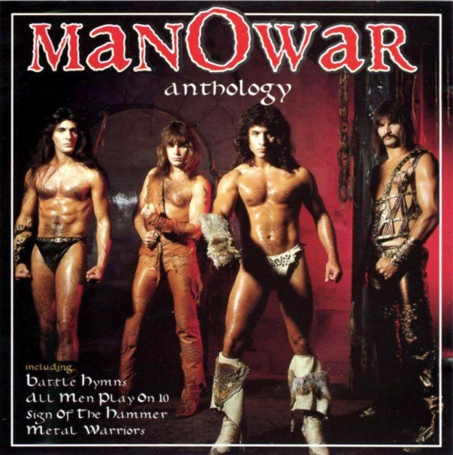 Poster - MANOWAR waR anthology includjng battle Hymns ALL Men Play On 10 Sign Of The Hammer Meral Warriors