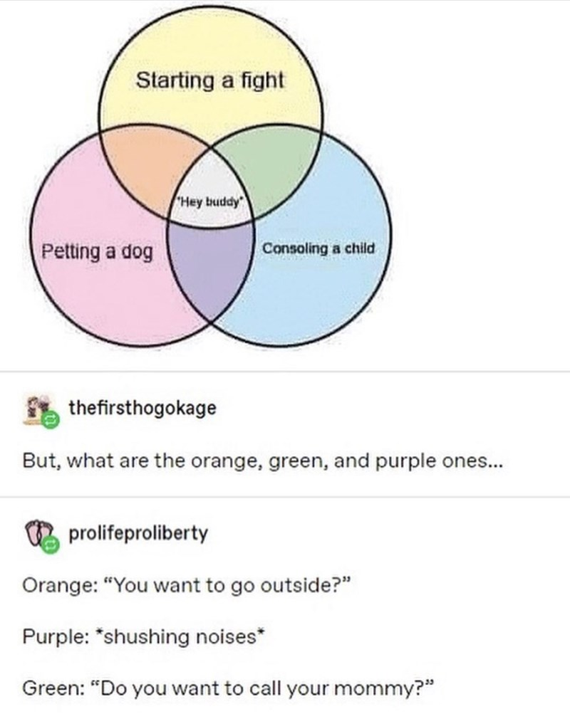 "Funny Tumblr meme depicting a Venn diagram with ""starting a fight,"" ""petting a dog,"" and ""consoling a child"" Hey buddy 