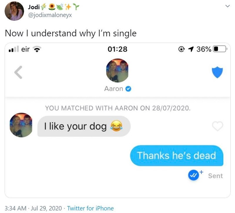 Text - Jodi k @jodixmaloneyx Now I understand why I'm single ll eir ? 01:28 @ 1 36% Aaron O YOU MATCHED WITH AARON ON 28/07/2020. I like your dog Thanks he's dead Sent 3:34 AM Jul 29, 2020 · Twitter for iPhone >