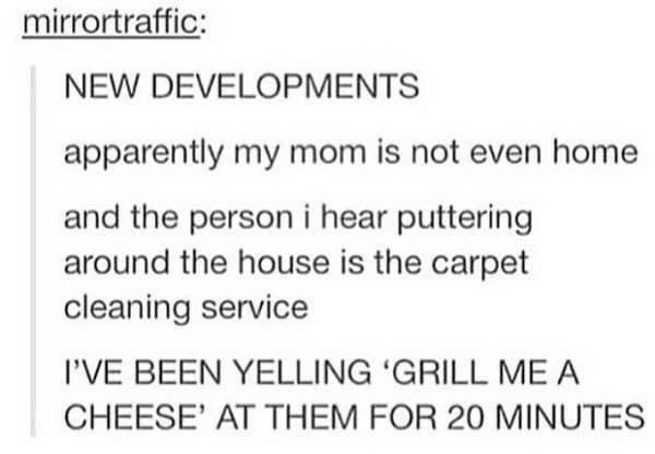 Text - mirrortraffic: NEW DEVELOPMENTS apparently my mom is not even home and the person i hear puttering around the house is the carpet cleaning service I'VE BEEN YELLING 'GRILL ME A CHEESE' AT THEM FOR 20 MINUTES