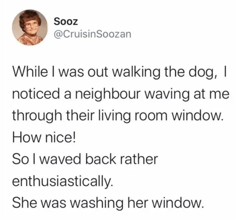 Text - Sooz @CruisinSoozan While I was out walking the dog, I noticed a neighbour waving at me through their living room window. How nice! Sol waved back rather enthusiastically. She was washing her window.
