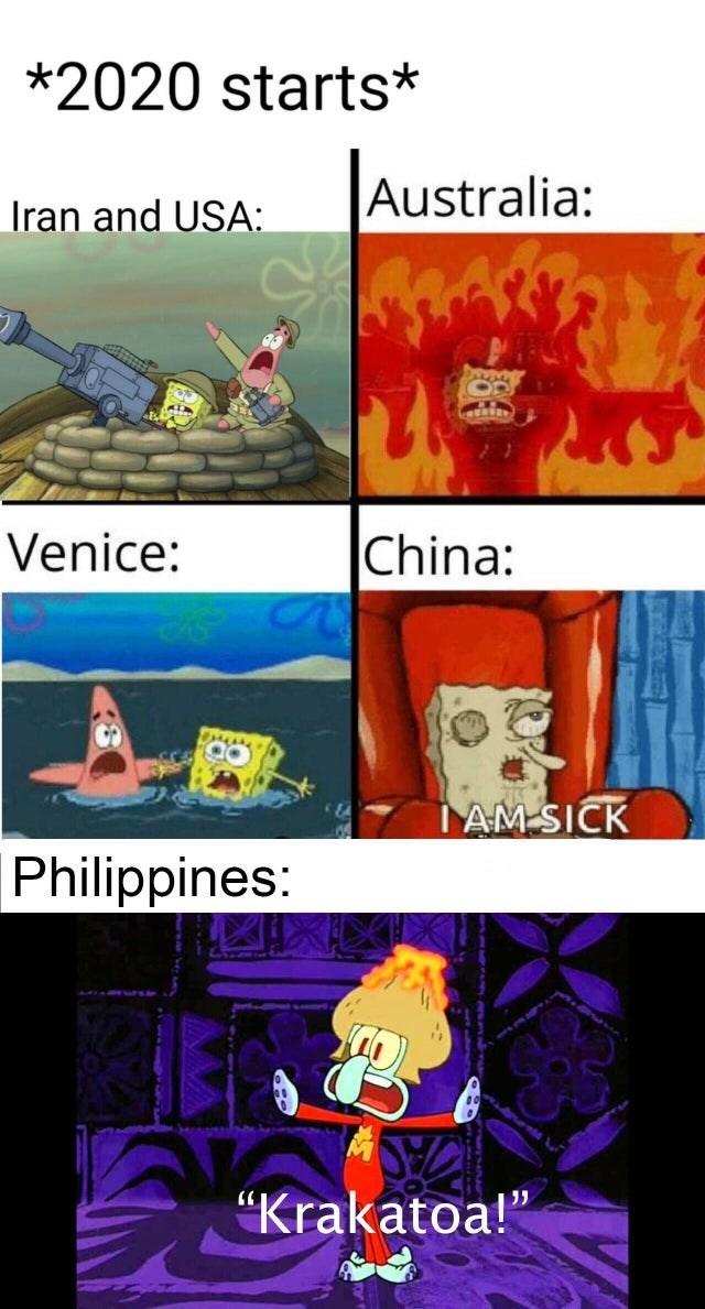 "Cartoon - *2020 starts* Australia: Iran and USA: Venice: China: IAM SICK Philippines: ""Krakatoa!"""