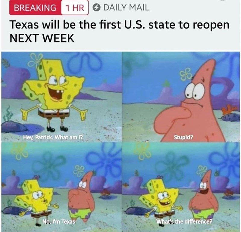 Cartoon - BREAKING 1 HR O DAILY MAIL Texas will be the first U.S. state to reopen NEXT WEEK Hey, Patrick. What am I? Stupid? No, I'm Texas. What's the difference?