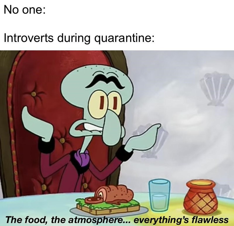 Cartoon - No one: Introverts during quarantine: The food, the atmosphere... everything's flawless