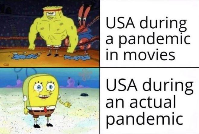 Cartoon - USA during a pandemic in movies USA during an actual pandemic