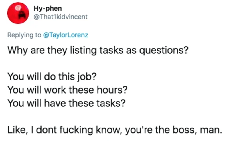 Text - Hy-phen @That1kidvincent Replying to @TaylorLorenz Why are they listing tasks as questions? You will do this job? You will work these hours? You will have these tasks? Like, I dont fucking know, you're the boss, man.