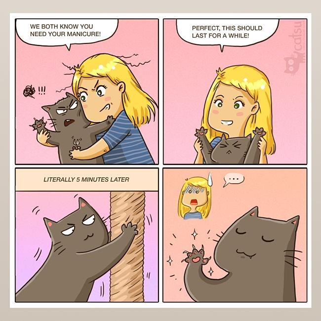 Cartoon - WE BOTH KNOW YOU PERFECT, THIS SHOULD LAST FOR A WHILE! NEED YOUR MANICURE! LITERALLY 5 MINUTES LATER catsu
