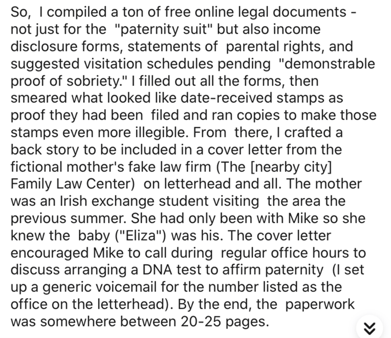 """Text - So, I compiled a ton of free online legal documents - not just for the """"paternity suit"""" but also income disclosure forms, statements of parental rights, and suggested visitation schedules pending """"demonstrable proof of sobriety."""" I filled out all the forms, then smeared what looked like date-received stamps as proof they had been filed and ran copies to make those stamps even more illegible. From there, I crafted a back story to be included in a cover letter from the fictional mother's fa"""
