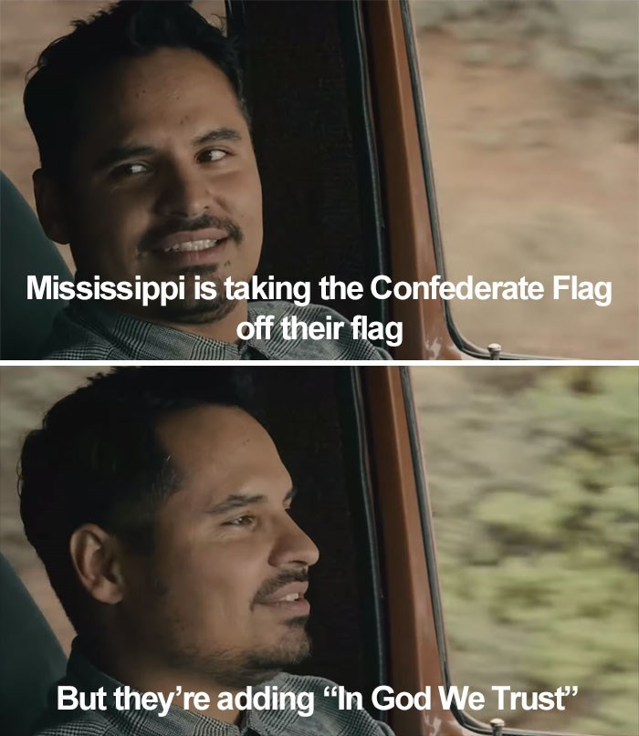 """Face - Mississippi is taking the Confederate Flag off their flag But they're adding """"In God We Trust"""""""
