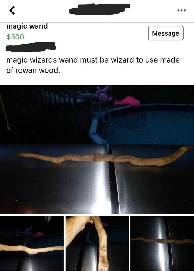 Bumper - magic wand Message $500 magic wizards wand must be wizard to use made of rowan wood.