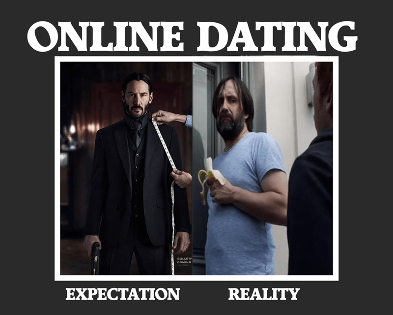 Photo caption - ONLINE DATING BULLETP COMING EXPECTATION REALITY