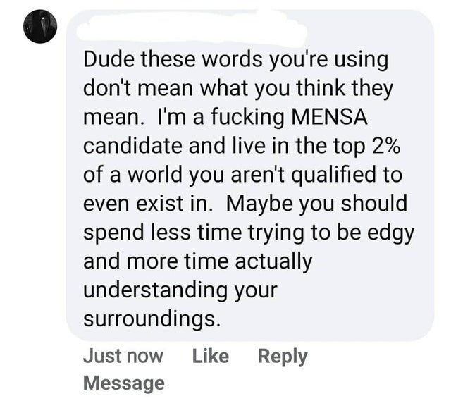 Text - Dude these words you're using don't mean what you think they mean. I'm a fucking MENSA candidate and live in the top 2% of a world you aren't qualified to even exist in. Maybe you should spend less time trying to be edgy and more time actually understanding your surroundings. Just now Like Reply Message