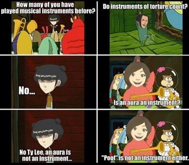 """Cartoon - How many of you have played musical instruments before? Do instruments of torture count? No.. Is an aura an instrument? No Ty Lee, an aura is not an instrúment. """"Poof is not an instrument either."""