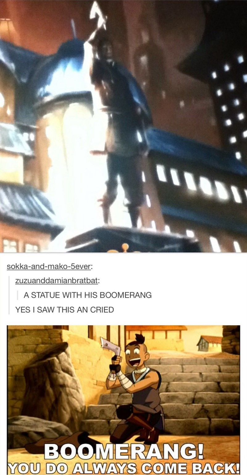 Fictional character - sokka-and-mako-5ever: zuzuanddamianbratbat: A STATUE WITH HIS BOOMERANG YES I SAW THIS AN CRIED BOOMERANG! YOU DO ALWAYS COME BACK!