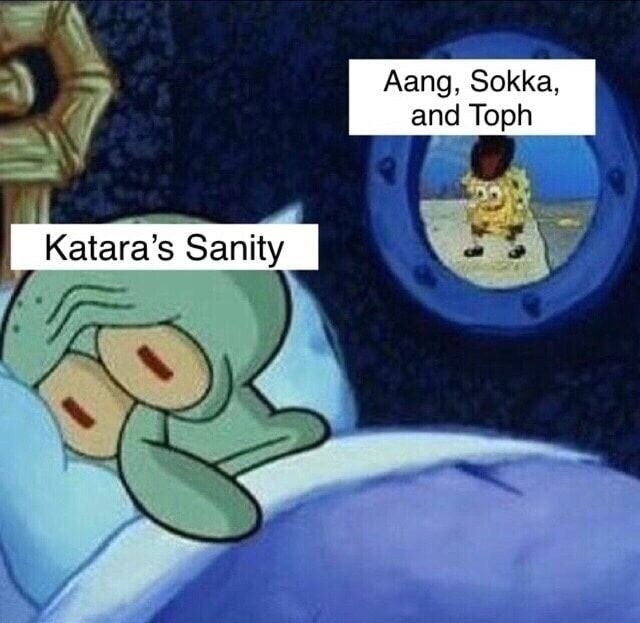 Animated cartoon - Aang, Sokka, and Toph Katara's Sanity
