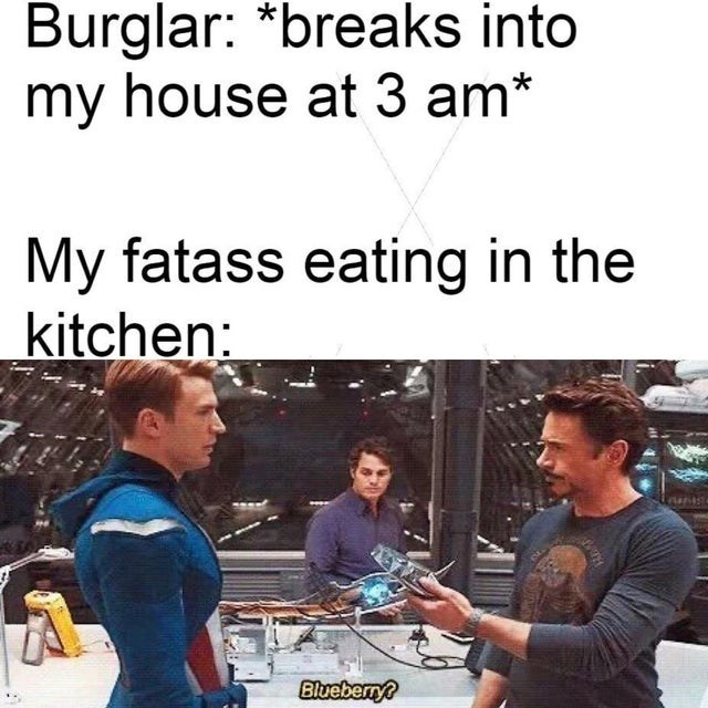 Job - Burglar: *breaks into my house at 3 am* My fatass eating in the kitchen: Blueberry?