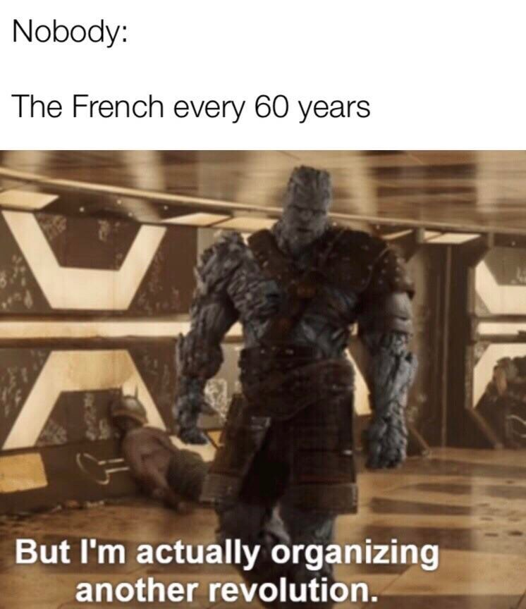 Fictional character - Nobody: The French every 60 years But I'm actually organizing another revolution.