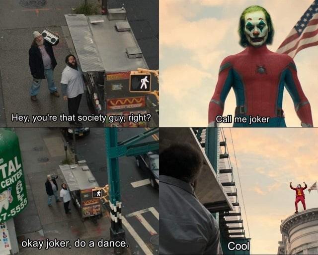 Fictional character - 大 Hey, you're that society guy, right? TAL CENTER Call me joker 7-5555 okay joker, do a dance. Cool