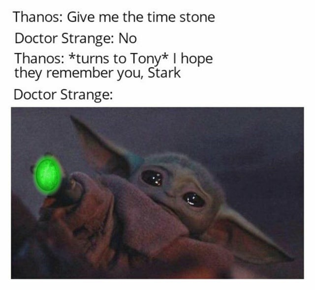 Text - Thanos: Give me the time stone Doctor Strange: No Thanos: *turns to Tony* I hope they remember you, Stark Doctor Strange: