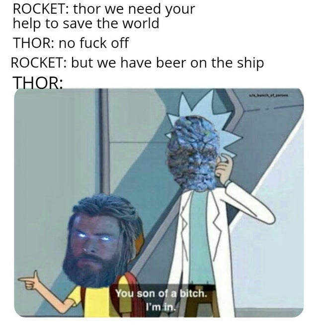 Cartoon - ROCKET: thor we need your help to save the world THOR: no fuck off ROCKET: but we have beer on the ship THOR: You son of a bitch. I'm in.