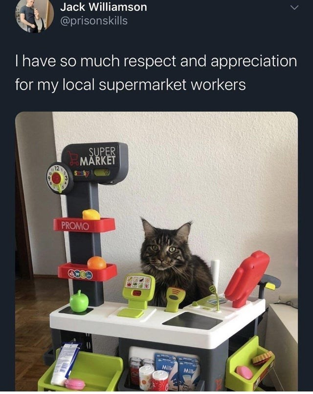 Cat - Jack Williamson @prisonskills Thave so much respect and appreciation for my local supermarket workers SUPER MĂRKET 12 PROMO Milk Milk