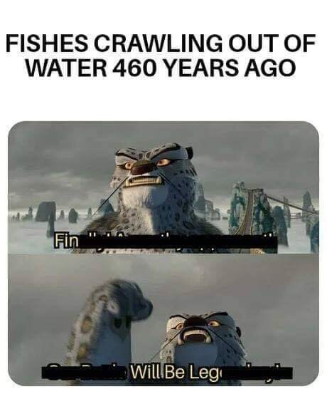 "Funny meme that reads, ""Fishes crawling out of water 460 years ago"" above a still from the movie Ice Age where a character says, ""Fin will be leg"""