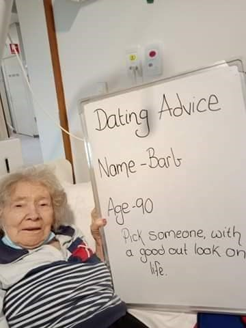 Text - Dating Advice Name-Barl Pick Someone, with good out look on ife. a