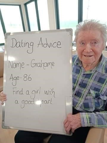 Text - Dating Aduce Name - Grahame Age - 86 Find a grl with a good eart