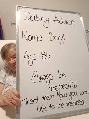 Text - Dating Adice Nome -Bergl Age-86 Alwoye reepeciful. Treal them how you woul like to be treated. be
