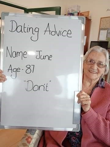 Text - Dating Advce Name June Age-87 Donit