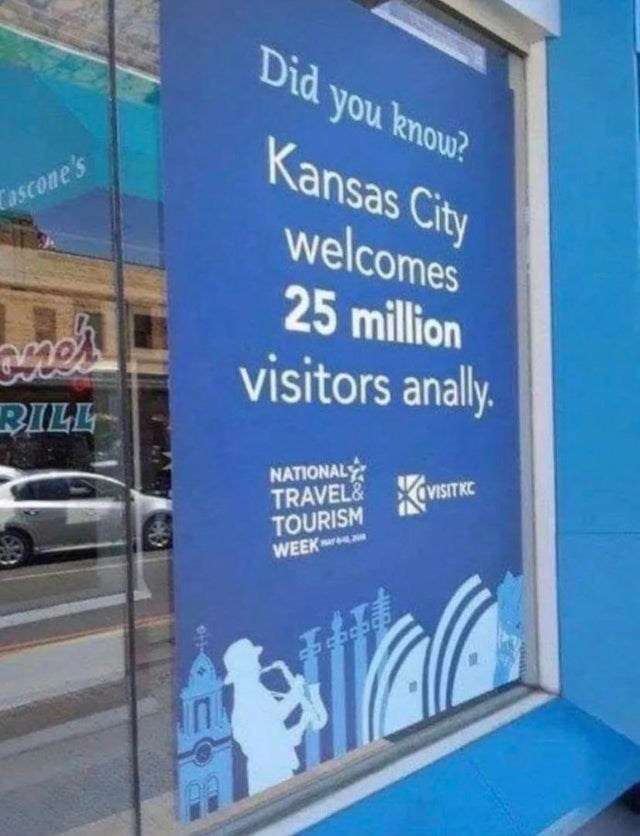 Banner - Did you knou? Kansas City Tascone's welcomes 25 million visitors analy. RILL NATIONALY TRAVEL& TOURISM WEEK VISITKE
