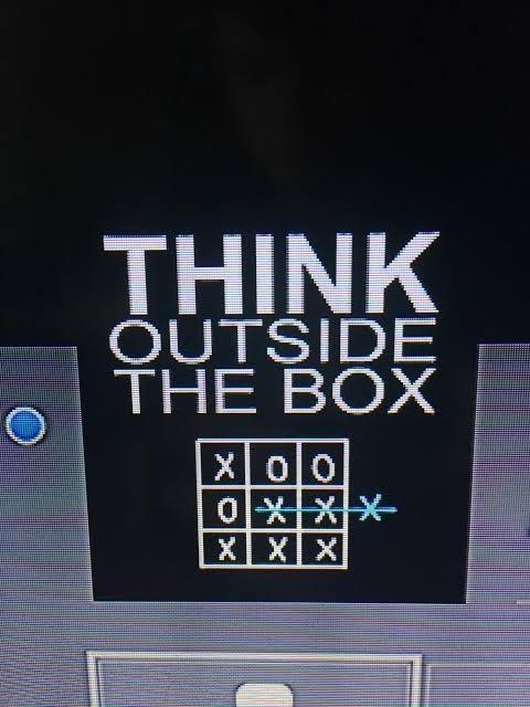 Text - THINK ÕUTSIDE THE BOX X00 XXX