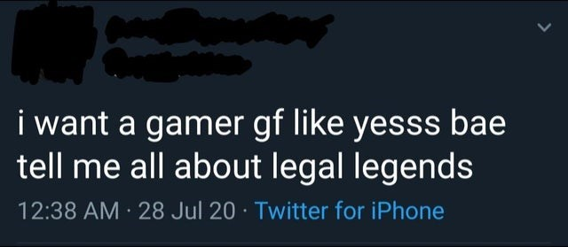 Text - i want a gamer gf like yesss bae tell me all about legal legends 12:38 AM · 28 Jul 20 · Twitter for iPhone