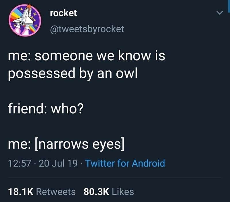 Text - rocket @tweetsbyrocket me: someone we know is possessed by an owl friend: who? me: [narrows eyes] 12:57 · 20 Jul 19 · Twitter for Android 18.1K Retweets 80.3K Likes