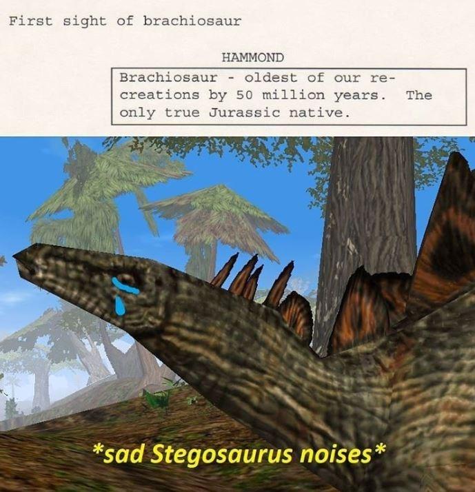 Adaptation - First sight of brachiosaur HAMMOND Brachiosaur - oldest of our re- creations by 50 million years. only true Jurassic native. The *sad Stegosaurus noises