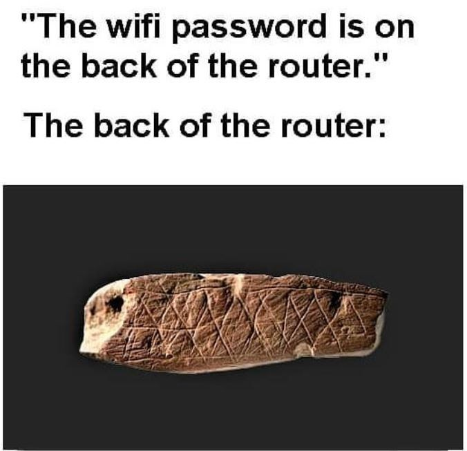 """Organism - """"The wifi password is on the back of the router."""" The back of the router:"""