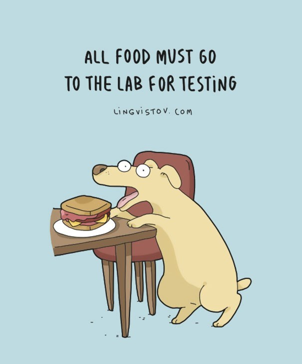 Cartoon - ALL FOOD MUST 60 TO THE LAB FOR TESTİNG LINGVISTOV. cOM